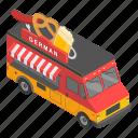 german, foodtruck, cartoon, food, truck, grill, isometric icon