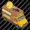 cartoon, colorful, dessert, honey, isometric, pancake, truck icon