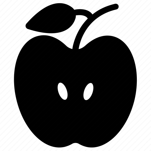 apple, apple half, food, fresh apple, fruit, half apple icon
