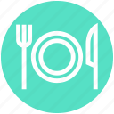 eating, flatware, fork, knife, plate, tableware, utensil icon