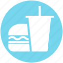 beverage, breakfast, burger, coke burger and coke, drink, drink and burger, food icon