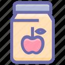 apple, apple flavor, apple jam, breakfast, food, jam, jam jar, jar, jar of jam, marmalade icon