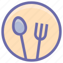 dining, eating, flatware, fork, plate, spoons set, tableware, utensil icon