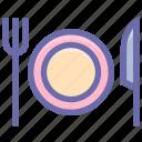 dining, eating, flatware, fork, knife, plate, tableware, utensil icon