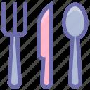 dining, eating, flatware, fork, knife, spoons set, tableware, utensil icon
