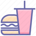 beverage, breakfast, burger, burger and coke, coke, drink, drink and burger, food icon
