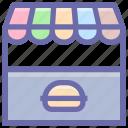building, food, food market, food shop, kiosk, market, restaurant, shop, stand, store icon
