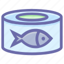 box, fish, fish food, food, metal cans, preservation icon