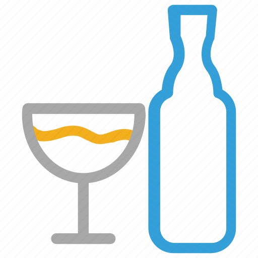beverage, bottle, glass, wine icon