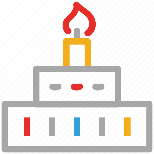 cake, cake with candle, dessert, party cake icon