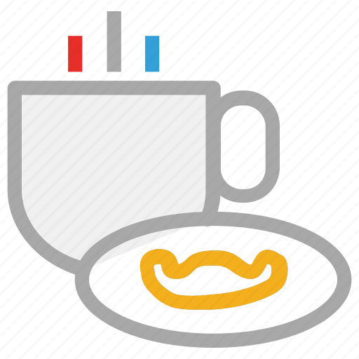 breakfast, hot tea, tea, tea with cookie icon