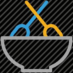 bowl and spatulas, food, mixing, mixing food icon