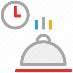 food and clock, lunch time, meal time, ready food icon
