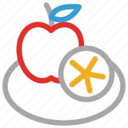 apple, food, fruit, half of citrus icon