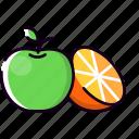 apple, citrus, food, fresh, fruits, orange, tropical icon