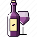 alcohol, beverage, bottle, drink, glass, magnifying, wine icon