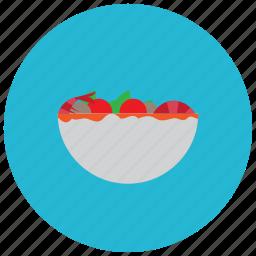bowl, food, meals, salad, sauce, shrimp icon