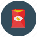 bag, chips, food, meals, open, snack icon