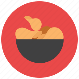 bowl, chips, food, meals, snack icon