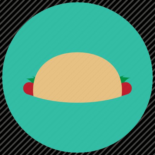 food, greens, meals, sausage, tortilla icon
