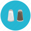 food, meals, pepper, salt, shakers icon
