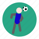 football, head, heading, player, soccer, sport, statistic icon