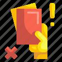 soccer, card, referee, football, warning, foul, hand icon