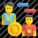 transfer, dollar, player, soccer, football, purchase, fee icon