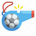 whistle, football, soccer, sport, competition, equipment, referee icon