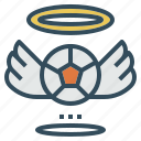 angel, badge, ball, football, halo, wing icon
