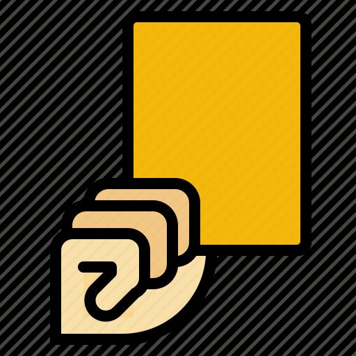 amonestation, card, football, referee, rules, yellow icon