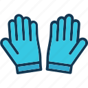 cushioned gloves, gloves, hands gloves, sports gloves icon