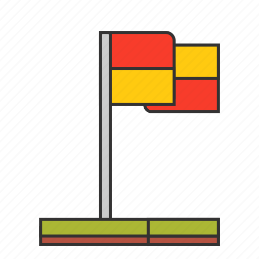 corner, field, flag, football, foul, kick, soccer icon