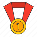 achievement, badge, education, football, gold, medal, rank icon