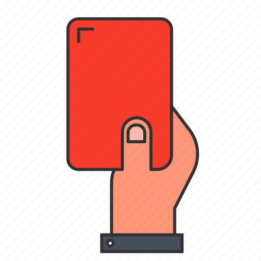 card, football, hand, holding, red, refree, sport icon