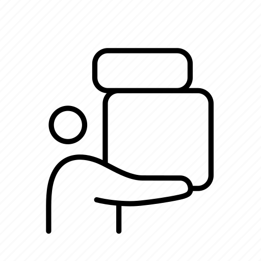 box, heavy, hold, lift, person, weighted icon