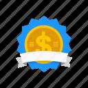 award, bagde, dollar badge, dollar sign icon