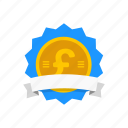 award, badge, british badge, pound icon