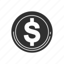 currency, dollar, finance, round chip dollar icon
