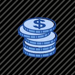coins, dollar, dollar coin, money icon