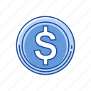 coins, dollar, dollar coins, money icon