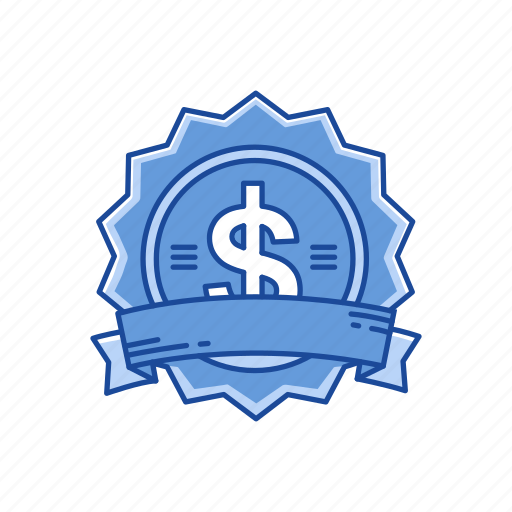 badge, coins, dollar, money icon