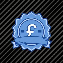 badge, british pound, coins, pound icon