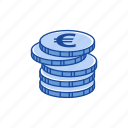 coins, euro, euro coins, money icon