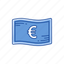 bill, cash, european money, money icon
