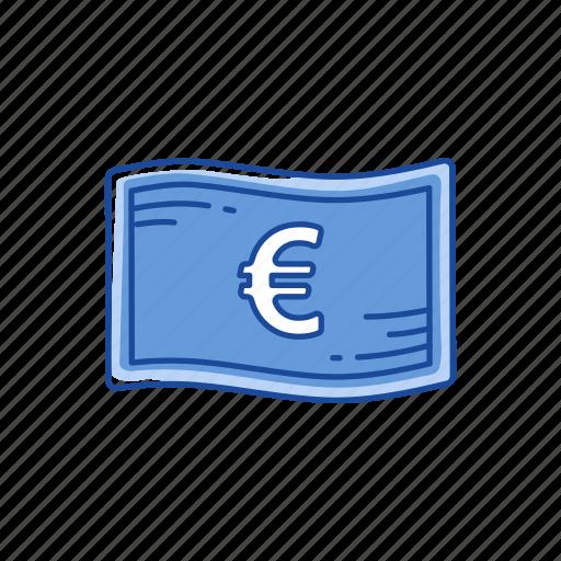 bill, cash, european money, money icon