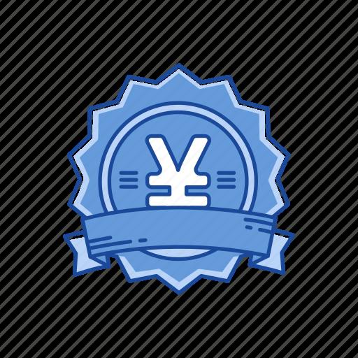 badge, coins, money, yen icon