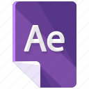 ae, extension, file, format icon