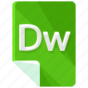 dw, extension, file, format icon