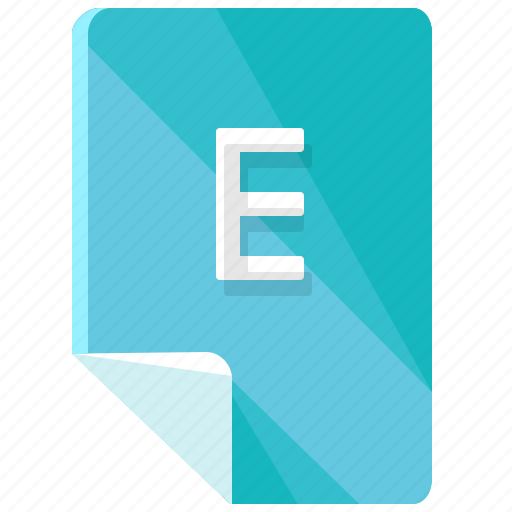 e, extension, file, format icon